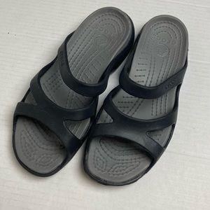 Crocs Black and Grey Slide Meleen Twist Sandal SZ7